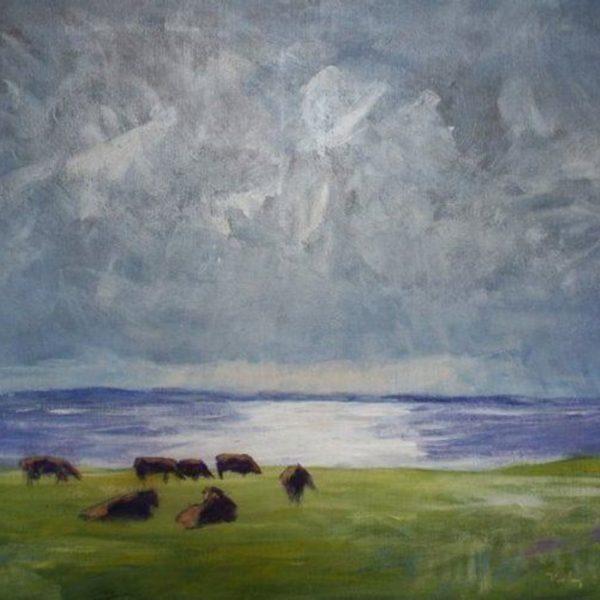 Køer i modlys på Lyø 52x62 kr. 3.800