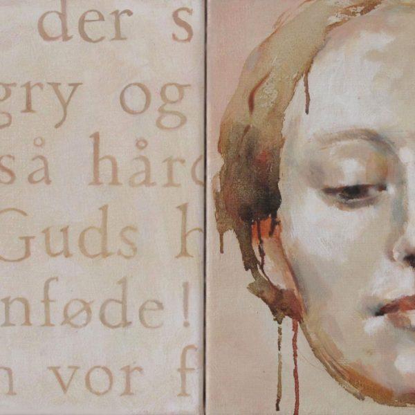 Tekst og ansigt 35x70 kr. 7.600