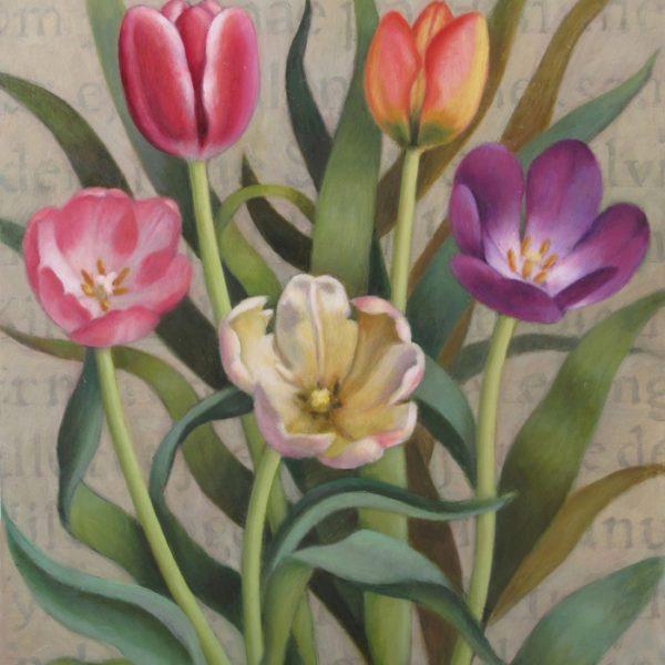Teksttavle med 5 tulipaner 54x41 kr. 8.500