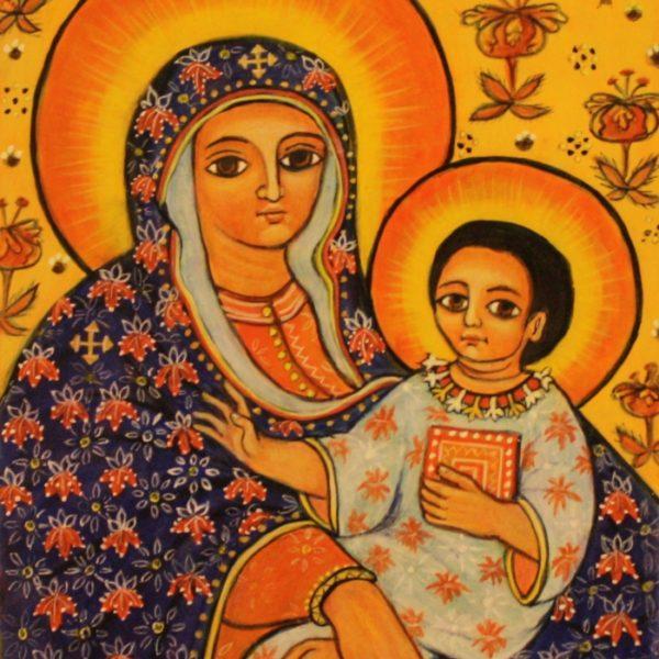 Etiopisk Gudsmoder ikon 19x15 kr. 1.500