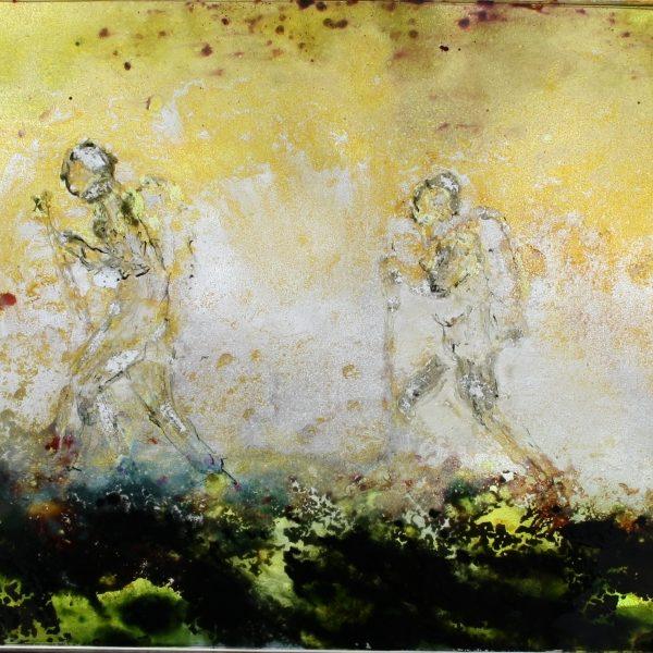 Pilgrimsvandrer - Glasmaleri 24x30 kr. 4.000