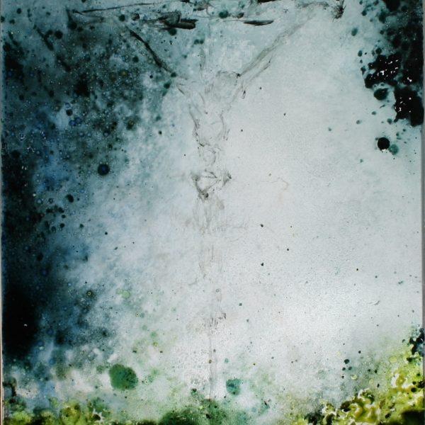 Ved korset - Glasmaleri 30x23 kr. 4.000