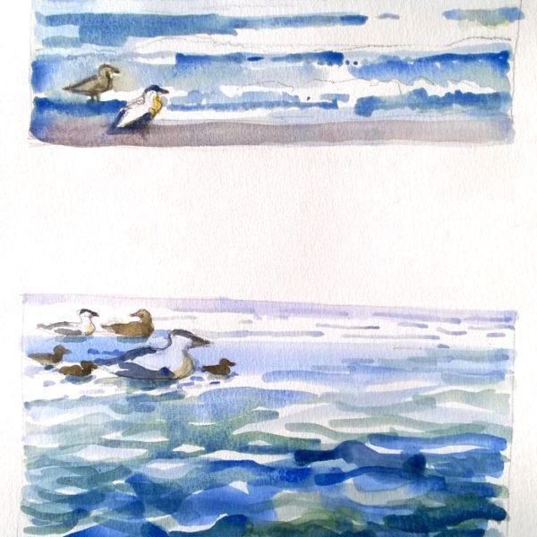 fugle i vandkanten 50x40 kr. 1.900