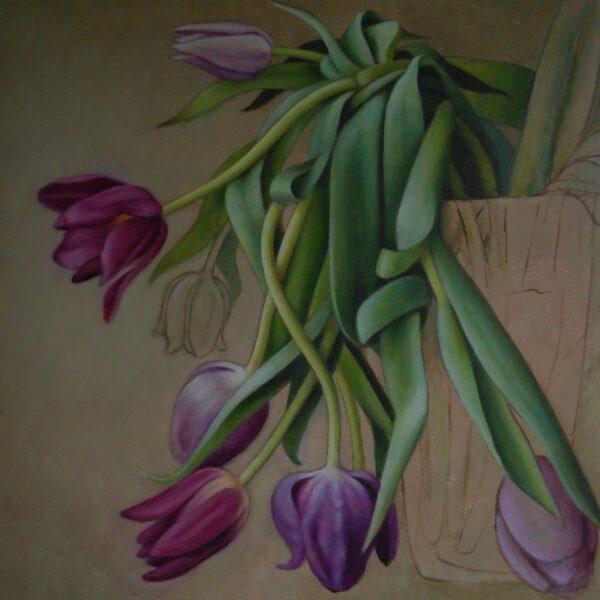 Faldne lilla tulipaner